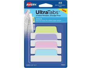 "Avery Tabs Repositionable 2-Sided 2-1/2""x1"" 48/PK AST Pastel 74867"