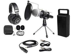 Rockville PC Podcasting Podcast Streaming Bundle w/ Microphone+Stand+Headphones