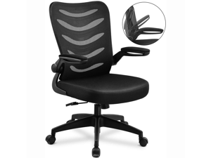 GTRACING Desk Chair ComHoma-Series Ergonomic Office Chair Mesh Computer Chair with Flip-Up Arms Lumbar Support Adjustable Swivel Mid Back for Conference Home Office, Black