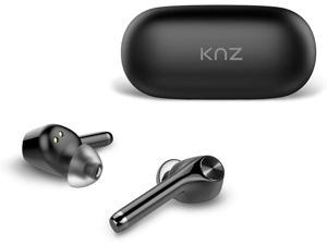 KNZ SoundMax Bluetooth 5.0 True Wireless Earphones, Qi Wireless Charging Case, HD Sound Quality, Hands-Free Headset, Intuitive Touch Control, Stereo Talk, Charging via USB Type-C or Wireless (Black)