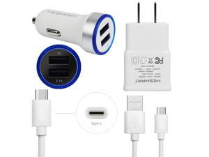 Wall/Fast Car Charger USB C Cable for Samsung Galaxy S8+ S9+ Active Note 8 9 LG Stylo 4 G7 V40 V35 ThinQ Cell Phone Bundle