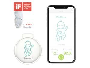 Sense-U Baby Breathing Movement Monitor with a FREE Swaddle Blanket(Large: 3-6m): Alert you for No Breathing Movement, Stomach Sleeping, Overheating and Getting Cold (2019 Updated Version)