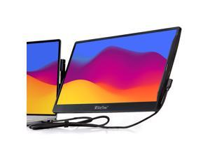 """SideTrak Swivel 14"""" Attachable Portable Monitor for Laptop FHD IPS USB Laptop Dual Screen with Kickstand   Compatible with Mac, PC, & Chrome   Fits All Laptop Sizes   Powered by USB-C or Mini HDMI"""
