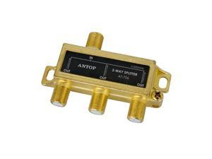 3 Way TV Signal Splitter,ANTOP Digital Coax Cable Splitter 2GHz- 5-2050MHz High Performance for Satellite/Cable TV Antenna