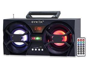 Sykik SP2091BT Bluetooth Boom Box with SD_MMC_USB_ FM Radio_ Built_in Rechargeable Battery  Remote Control