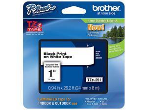 "3 X Genuine Brother (TZE251) 1"" (24mm) Black on White TZe P-touch Tape. (8m/26.2') (1/Pkg)"