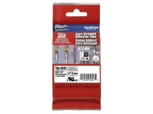 """5 X Brother (TZES231) 1/2"""" (12mm) Black Print on White Extra Strength Adhesive P-touch Tape (5 of OEM TZES231)"""