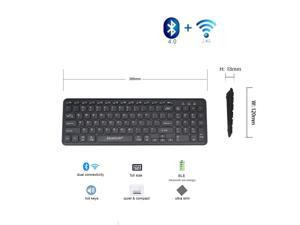 BKB-6063S Universal Wireless Bluetooth Keyboard, Multi-Device Full Size Bluetooth 4.0 LE and 2.4G ALL-IN-1 Ultra-slim Wireless Keyboard for Win/Mac (Black)