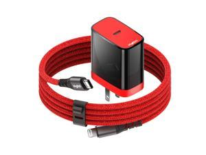 VogDUO PD Wall Charger Kit, MFi Certified 6.6ft USB-C to Lightning Cable, 18W Power Delivery Wall Charger, Compatible with iPhone 11/ 11Pro/ 11Pro Max, iPad, AirPods, Black and Red