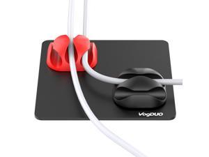 VogDUO Cable Management, Matt black aluminum alloy pad, 4 silicone cable-managements, washable PU pad, compatible with smart-phone cable, Alexa, Google Nest mini, HomePod, iMac, car charging cable.