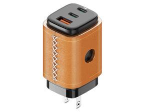 VogDUO USB C Charger, 65W 3 Ports GaN, Fast Charging, Foldable Plug, Genuine Leather style, compatible with iPad, iPhone 13/13 Mini/13 Pro/13 Pro Max/12/11, Nintendo Switch, MacBook Pro