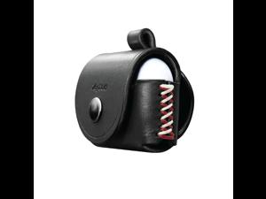VogDUO- Italian Genuine Leather Case for AirPods Pro, portable carry case, Lightning port slot design, Belt Loop design, premium metal hook for the bag, keychain or jeans, YKK button applied- Black