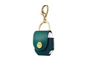 VogDUO- Italian Genuine Leather Case for AirPods, portable carry case, Lightning port slot design, premium metal hook for the bag, keychain or jeans, YKK button applied- Emerald