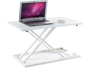 MotionGrey - Portable Height Adjustable Standing Desk Converter, Ergonomic Sit to Stand Computer Desk Riser, Portable Desk for Dual Monitors & Any Work Environment (28.3In by 18.5In) (White)