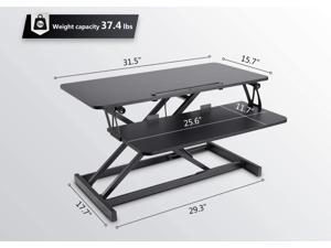 MotionGrey PD2 Portable Height Adjustable Sit to Stand Computer Office Standing Desk Converter Riser - Black