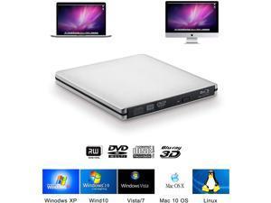 USB3.0 Blu-ray Burner External Optical Drive DVD Player Aluminum Blu Ray Writer Reader 3D 6x Slim BD CD DVD Player for Windows XP/7/8/10,Mac OS, Laptop Desktop