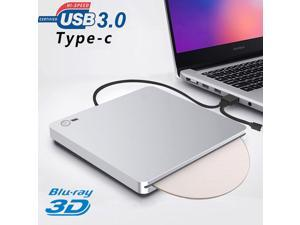 1080P External 3D Blu Ray Burner DVD Drive, USB 3.0 and Type-C Blu Ray Reader Player Ultra Slim Slot-in CD DVD Burner with Smart Touch Compatible with Windows XP/7/8/10, Mac OS for MacBook, Laptop, PC