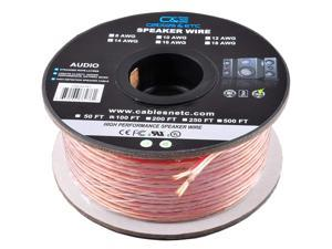 100ft (30m) Pro Series 14 Gauge AWG 99.9% Oxygen Free Copper Speaker Wire Cable with Clear PVC Jacket & Polarity Stripe (100 Feet / 30 Meter) Great Use for Home Theater Speakers and Car Speakers