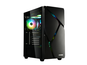 Enermax MarbleShell MS30 ARGB Tempered Glass Side Panel ATX Mid Tower PC Gaming Case with Triple ARGB Fans (4 Pre-Installed Fans) - Black