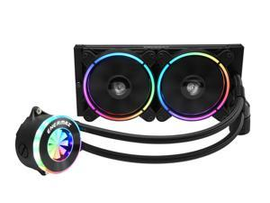 Enermax LIQFUSION 240 Addressable RGB All-in-one CPU Liquid Cooler for AM4/LGA2066, 240mm Radiator, Patented Flow Indicator Design, T.B. RGB Addressable M/B snc RGB Fan, ELC-LF240-RGB