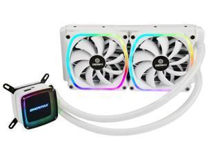 Enermax AQUAFUSION 240, Addressable RGB All-in-one CPU Liquid Cooler for AM4 / LGA1200, 240mm Radiator, Dual-Chamber Water Block, SquA RGB Fan, White
