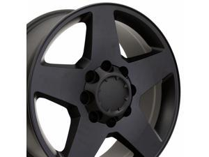 OE Wheels 20 Inch Fits Chevy 2500 3500 GMC 2500 3500 8x165 Heavy Duty Silverado Style CV91A 20x8.5 Rims Satin Black SET