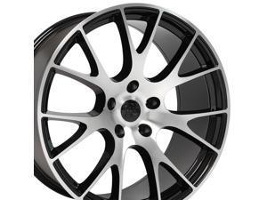 OE Wheels 22 Inch Fits Dodge Challenger Charger SRT8 Magnum Chrysler 300 SRT8 Hellcat Style DG15 22x9 Rims Gloss Black Machined SET