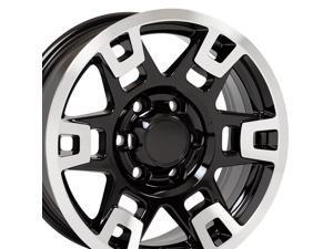 OE Wheels 17 Inch Fit Toyota 4Runner Tundra Tacoma H Spoke TRD Black Mach'd 17x7 Rims Hollander 75167 SET