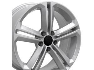 OE Wheels 18 Inch Fits Volkswagen GTI Jetta EOS CC Tiguan Rabbit Passat Golf Beetle VW CC Style VW18 Painted Silver 18x8 Rim Hollander 69924