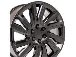 OE Wheels 22 Inch Fits Chevy Silverado Tahoe GMC Sierra Yukon Cadillac Escalade Silverado CV39 22x9 Rim Satin Black with Black