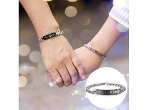 Valentines Day Gift Creative Trendy Titanium Steel Couple Bracelet for Men, Engraved Words Style (Gold + Red)