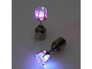 4 PCS Fashion LED Earrings Glowing Light Up Diamond Earring Stud