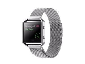 For Fitbit Blaze Bands with Frame, Milanese Mesh Loop Stainless Steel Magnetic Replacement Band with Metal Housing for Fitbit Blaze Watch Women and Men, Large, Gold, Rose Gold, Black, Silver