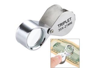 Mini Portable 30X Magnification 21mm Glass Lens Jeweler Loupes Magnifier Kids Toy(Silver)