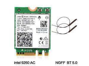 Intel 9260 9260NGW NGFF Dual Band 1730Mbps Wireless-AC WiFi BT 5.0 + Antenna