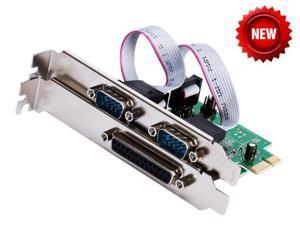PCI-e Combo 2 Serial + 1 Parallel IEEE 1284 Controller card PCI express to RS232 com + printer LPT port adapter Moschip win10