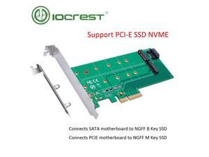 IOCREST PCIe x 4 to NGFF(PCIe)  NVMe SSD+SATA to NGFF(SATA)adapter card