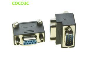 Right Angle DB9 Adapter 9 PIN RS232 Male to Female Serial Extension Cable with screws pannel 90 Degree COM Connector