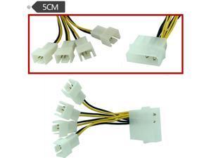 Fan Splitter 4-Pin Molex to 3-Pin 5V/7V/12V (3x Sockets),5cm