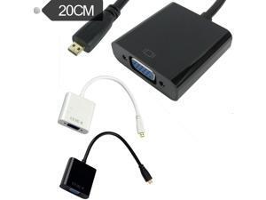 Micro HDMI Male to VGA Female Video Adapter Convertor No Audio 1080p HDTV 0.2M