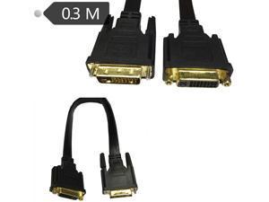 Flat Slim High DVI 24+5 Female to DVI 24+1 Male Cable 0.3m