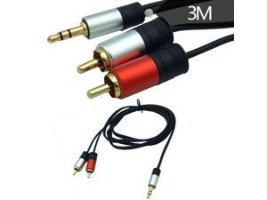 3.5mm Aux to 2RCA Y Splitter Stereo Audio Cable Male Type OFC Conductor High Flexible PVC Jacke 3M