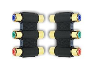 3 x RCA Phono RGB Component Video Coupler Joiner Adaptor F-F GOLD