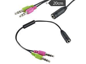 3.5mm AUX Audio Mic Y Splitter Cable Earphone Headphone 2 Male To 1 Female 20CM