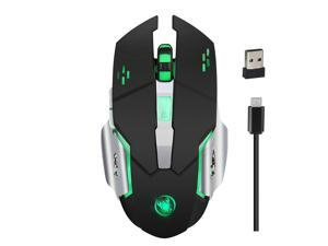 HXSJ M70GY Wireless Gaming Mouse Gaming Mice with Colorful Breathing Light & Charging Cable