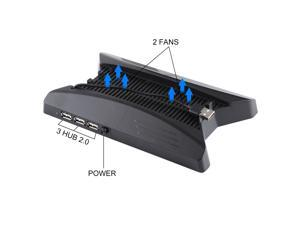 3 in 1 Charger Charging Dock Station Stand + Cooling Fans + 3 USB HUBs for Playstation PS4 Pro