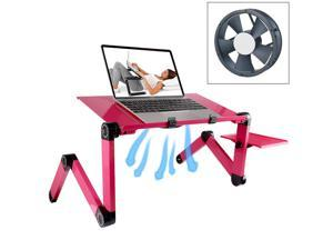 Portable 360 Degree Adjustable Foldable Aluminium Alloy Desk Stand with Cool Fans & Mouse Pad for Laptop / Notebook (Magenta)