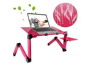 Portable 360 Degree Adjustable Foldable Aluminium Alloy Desk Stand with Mouse Pad for Laptop / Notebook, without CPU Fans(Magenta)