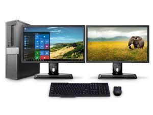 """Dell PC Computer Desktop CORE i5 3.0GHz 8GB 250GB HD Windows 10 W/Dual 19"""""""