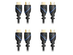 6ft (18M) High Speed HDMI Cable Male to Male with Ethernet Black (6 Feet/18 Meters) Supports 4K 30Hz 3D 1080p and Audio Return CNE74987 (4 Pack)
